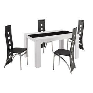 TABLE À MANGER COMPLÈTE DAMIA Ensemble table à manger 4 à 6 personnes blan