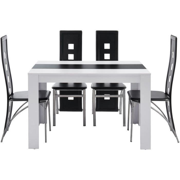 TABLE À MANGER COMPLÈTE DAMIA Ensemble table à manger + 4 chaises blanc et