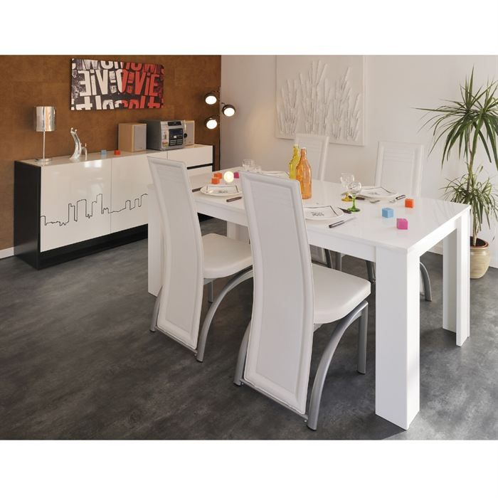 street salle manger compl te coloris blanc brillant et. Black Bedroom Furniture Sets. Home Design Ideas
