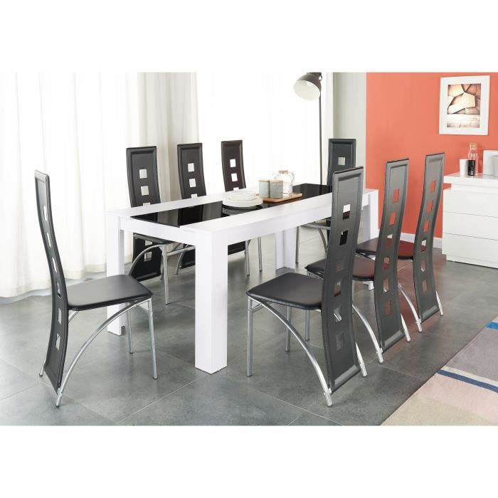 damia ensemble table manger 8 10 personnes 180x90 cm 8 chaises en simili blanc et noir. Black Bedroom Furniture Sets. Home Design Ideas