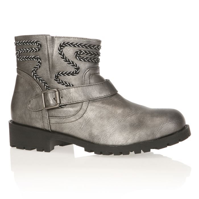 THE DIVINE FACTORY Bottines Femme femme Etain - Achat   Vente THE ... 3094f47c6dec
