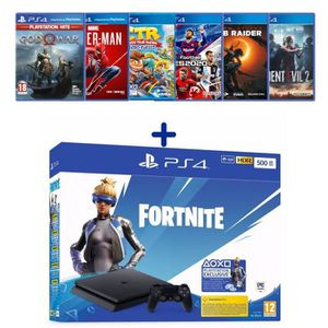 CONSOLE PS4 PS4 Slim 500 Go Noire + God of War + Spider-Man +
