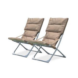 FAUTEUIL JARDIN  DCB GARDEN Lot de 2 chaises Relax pliables en text