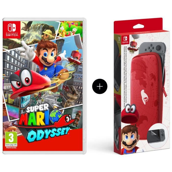 super mario odyssey jeu switch pochette de transport et. Black Bedroom Furniture Sets. Home Design Ideas