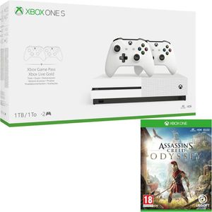 CONSOLE XBOX ONE Xbox One S 1 To + 2 manettes + Assassin's Creed Od
