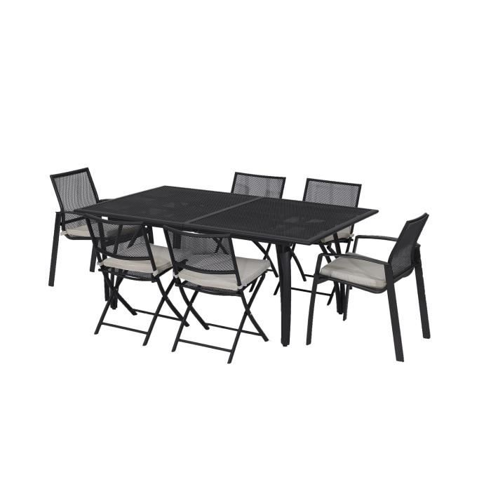 ensemble table extensible de jardin 180 240 cm 6 fauteuils aluminium gris anthracite achat. Black Bedroom Furniture Sets. Home Design Ideas