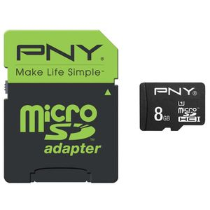 CARTE MÉMOIRE PNY Micro SD HC 8GB Performance 50MB/s + SD adapte