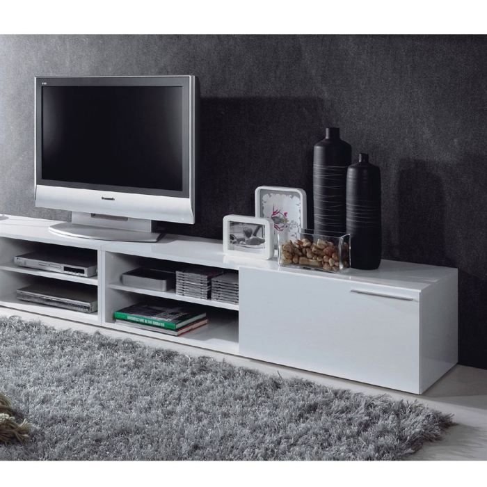 KIKUA Meuble TV 130cm Blanc brillant