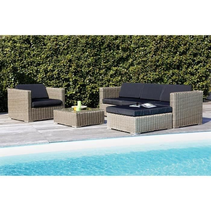 Salon De Jardin 5 Places En R Sine Alu Marron Gris Achat