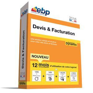 BUREAUTIQUE EBP Devis & Facturation DYNAMIC 12 mois 2016 + VIP