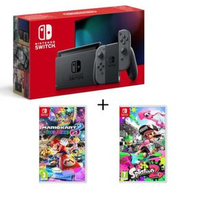 SORTIE CONSOLE NINTENDO SWITCH Pack Nintendo Switch Grise + Splatoon 2 + Mario Ka