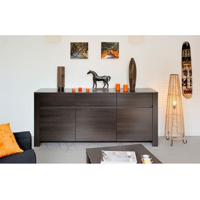 Cafe enfilade weng 180 cm 3 portes achat vente buffet for Meuble bas wenge