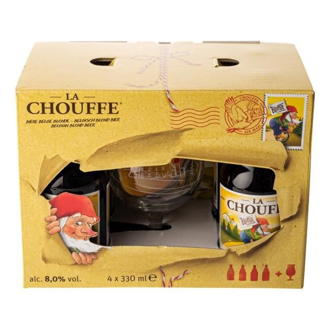 coffret chouffe 4 bi res 1 verre achat vente bi re coffret chouffe cdiscount. Black Bedroom Furniture Sets. Home Design Ideas