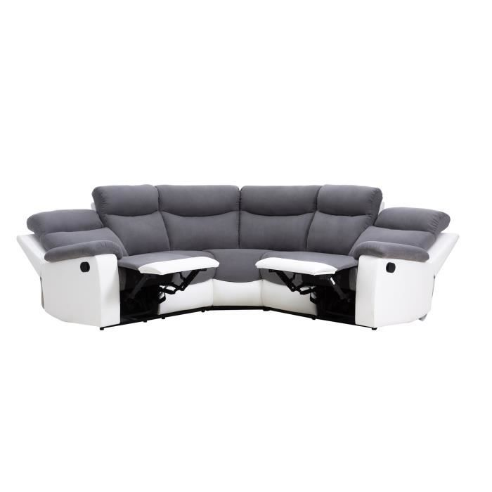 Volupte canap d 39 angle de relaxation en simili et tissu 5 places 291x26 - Canapes de relaxation ...