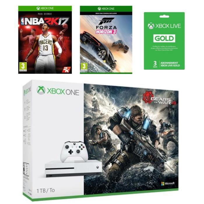 xbox one s 1 to gow 4 nba 2k17 forza horizon 3 live 3 mois achat vente console xbox. Black Bedroom Furniture Sets. Home Design Ideas