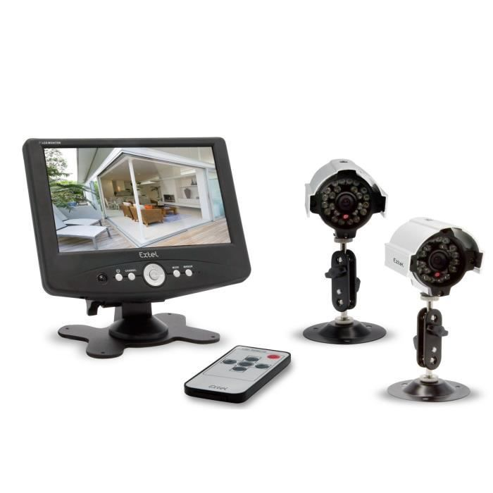 extel kit de 2 cam ras o fil de surveillance achat vente kit vid osurveillance cdiscount. Black Bedroom Furniture Sets. Home Design Ideas