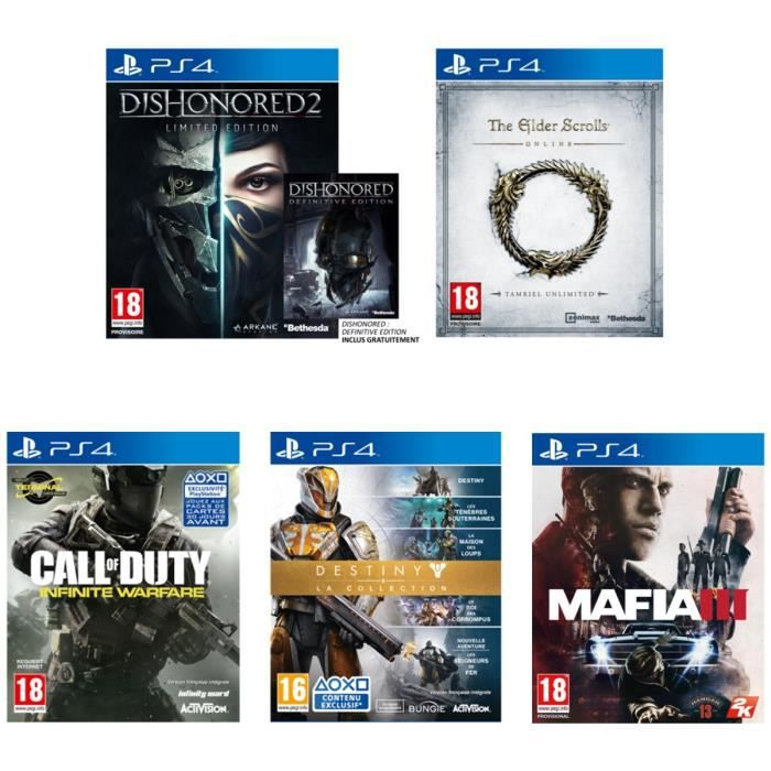 JEU PS4 Pack de 6 jeux PS4 : Dishonored 2+Dishonored DE+Ma