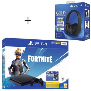 CONSOLE PS4 Pack Playstation : PS4 Slim 500 Go Noire + Voucher