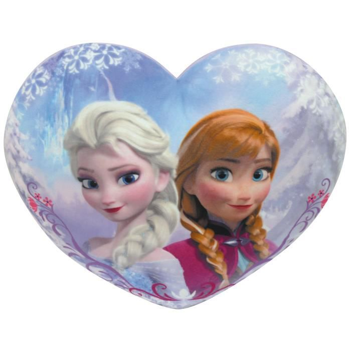 la reine des neiges coussin en c ur anna et elsa achat. Black Bedroom Furniture Sets. Home Design Ideas