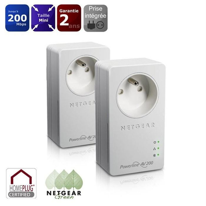 netgear 2 cpl 200mbps et prises xavb1401 prix pas cher cdiscount. Black Bedroom Furniture Sets. Home Design Ideas