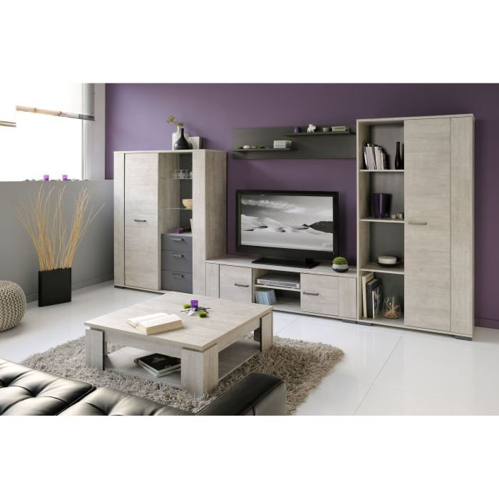 loft salon complet 5 pi ces d cor bois gris achat vente ensemble meubles de salon loft salon. Black Bedroom Furniture Sets. Home Design Ideas