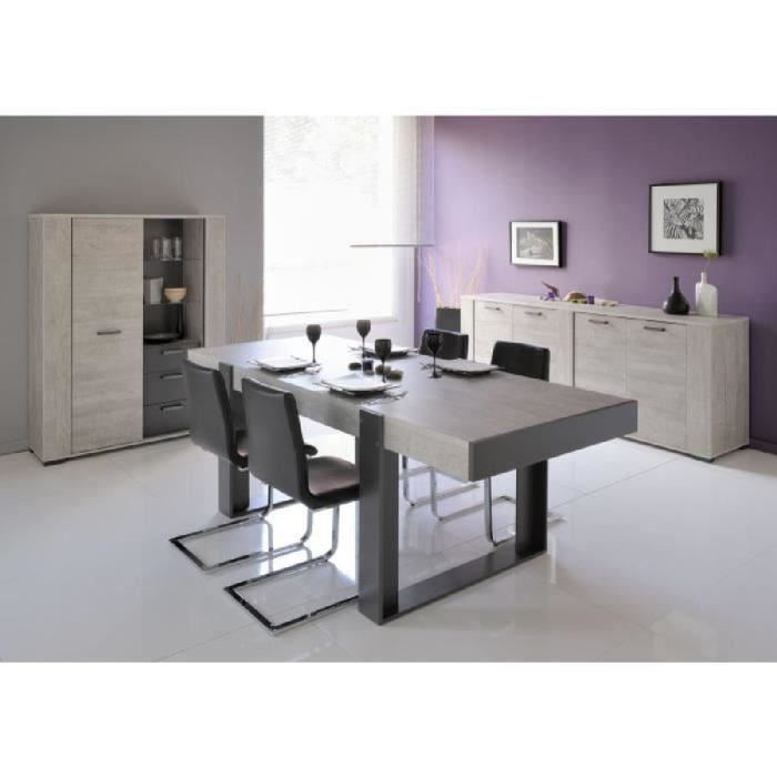 loft salle manger compl te d cor gris 3 pi ces 1 table manger 1 buffet bas 1 buffet haut. Black Bedroom Furniture Sets. Home Design Ideas
