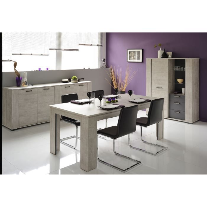 loft salle manger compl te d cor gris 3 pi ces 1 table. Black Bedroom Furniture Sets. Home Design Ideas