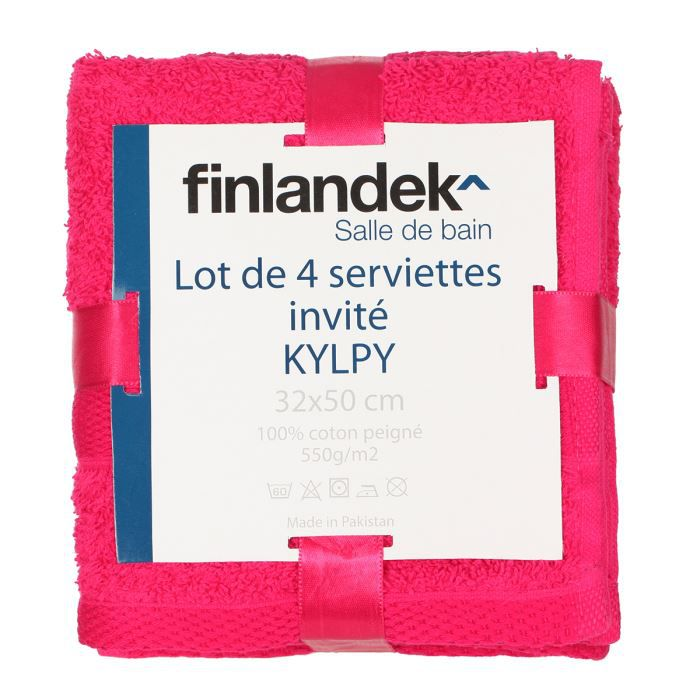 finlandek 4 serviettes invit s 32x50 kylpy fushia achat vente serviettes de bain soldes d. Black Bedroom Furniture Sets. Home Design Ideas