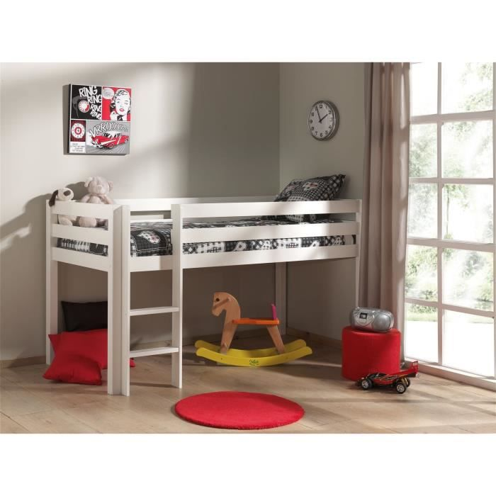 pino lit enfant mezzanine blanc achat vente lit mezzanine pino lit mezzanine pin bois. Black Bedroom Furniture Sets. Home Design Ideas