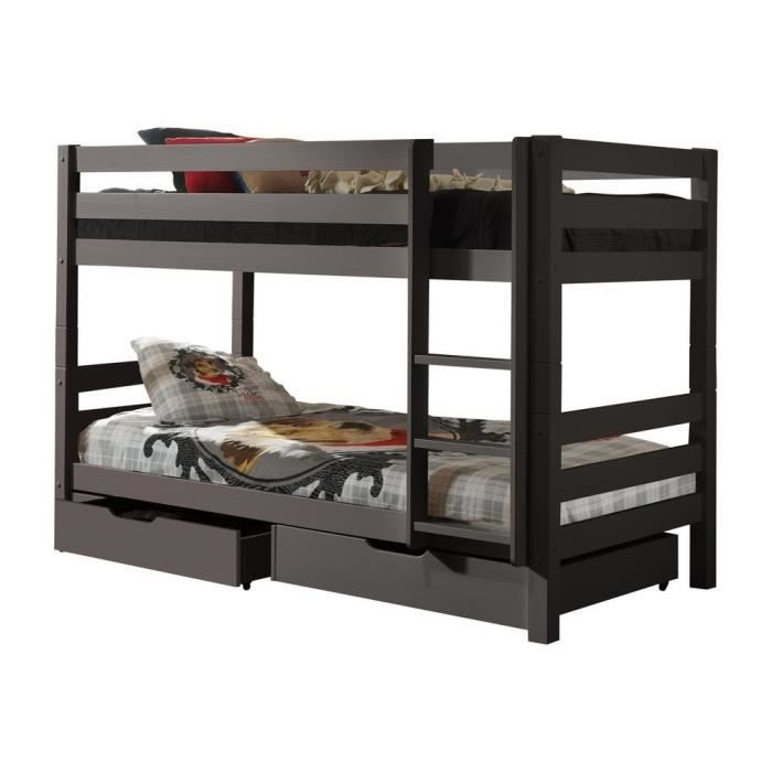 pino lit enfant superpos gris achat vente lits. Black Bedroom Furniture Sets. Home Design Ideas