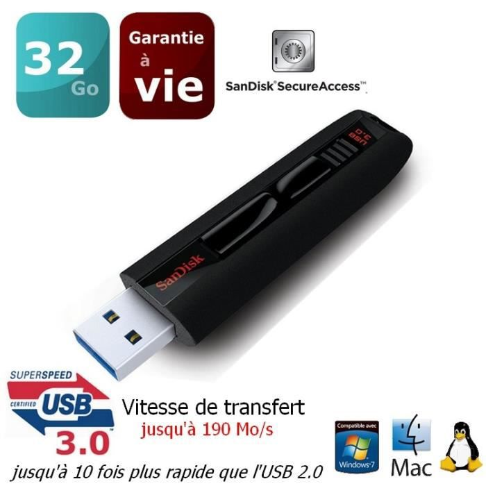 sandisk extreme 32 go cl usb 3 0 prix pas cher cdiscount. Black Bedroom Furniture Sets. Home Design Ideas