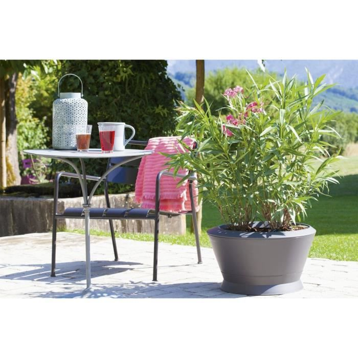Eda pot vasque ikone 54 4cm pm ik1 gris anthracite achat vente jardini re pot fleur for Jardiniere vasque jardin
