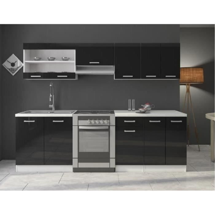 cuisine compl te quip e gaz avec lectrom nager 2m40 laqu noir achat vente cuisine. Black Bedroom Furniture Sets. Home Design Ideas