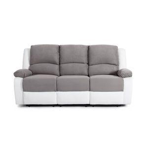 CANAPÉ - SOFA - DIVAN RELAX Canapé de relaxation 3 places Bi-matière Gri