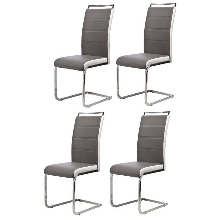 dylan lot de 4 chaises de salle manger gris blanc achat vente chaise cdiscount. Black Bedroom Furniture Sets. Home Design Ideas
