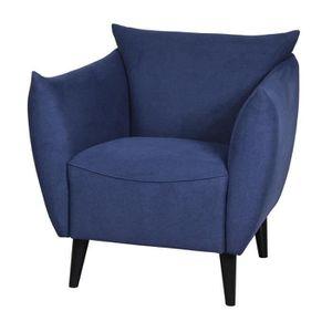 FAUTEUIL LARS Fauteuil - Tissu bleu marine - L 71 x P 86 x