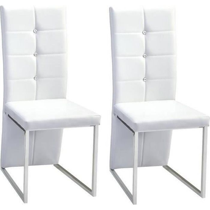 Bling lot de 2 chaises de salle manger strass blanches for Chaise blanche design salle a manger