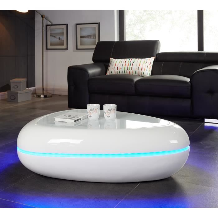 Egg table basse 100x80 cm avec clairage led blanc brillant achat vente - Table basse avec led ...