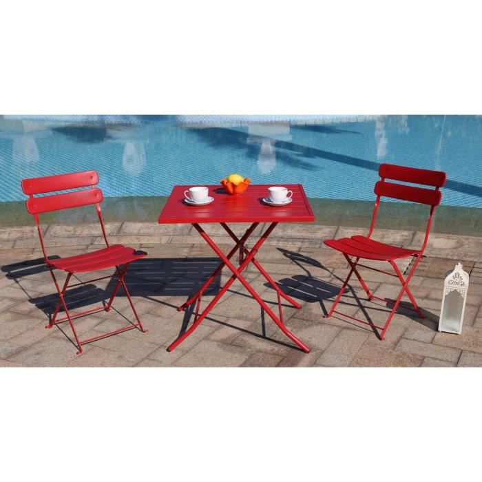 finlandek ensemble table 2 chaises de jardin bistrot acier rouge achat vente salon de. Black Bedroom Furniture Sets. Home Design Ideas