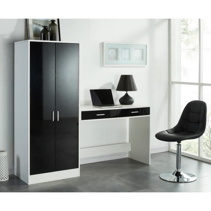 bureau noir achat vente bureau noir pas cher cdiscount. Black Bedroom Furniture Sets. Home Design Ideas