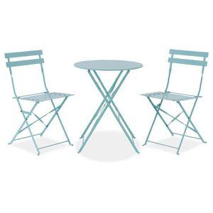 SALON DE JARDIN  FINLANDEK - Set bistrot table Ø 60 cm + 2 chaises