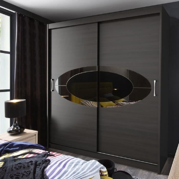 elyps armoire 200 cm noir achat vente armoire de chambre elyps armoire 200 cm structure. Black Bedroom Furniture Sets. Home Design Ideas