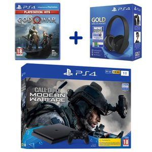 CONSOLE PS4 PS4 Slim 1To Noire + COD Modern Warfare + Casque S
