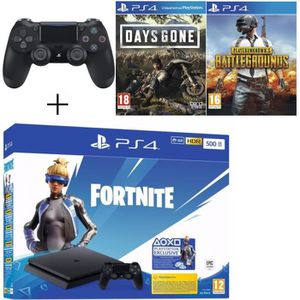 CONSOLE PS4 Pack Playstation : PS4 Slim 500Go Noire + Manette