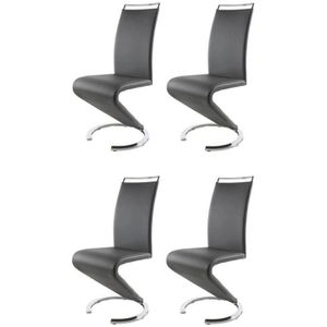CHAISE SIDNEY Lot de 4 chaises salon gris