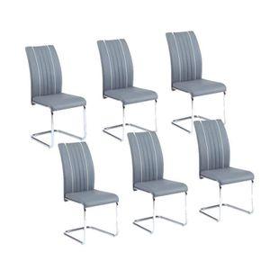 CHAISE INES Lot de 6 chaises de salle à manger grises