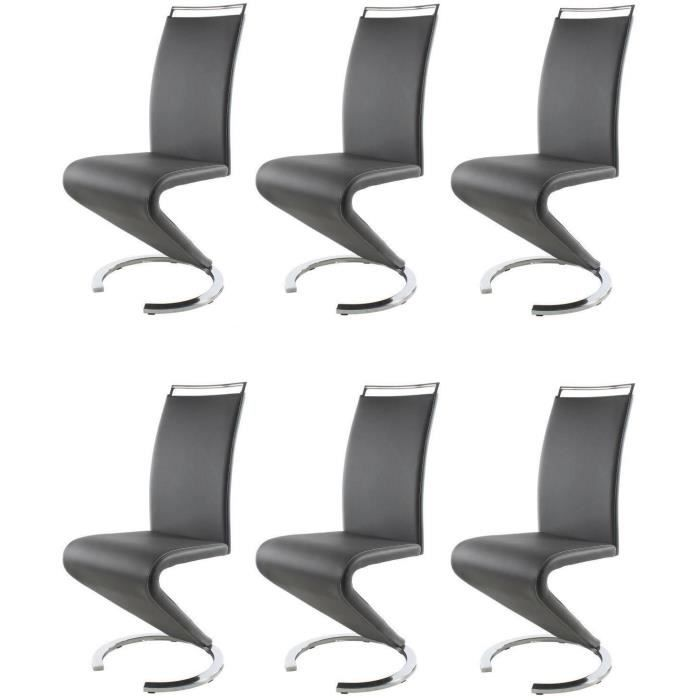 Sidney lot de 6 chaises salon gris achat vente chaise for Chaise de salon