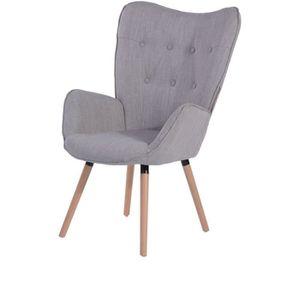 FAUTEUIL VIGGO Fauteuil - Tissu gris clair - Style scandina