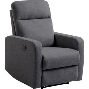 Relax Fauteuil Relaxation Tissu Gris Style Contemporain