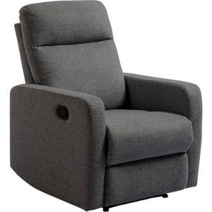 FAUTEUIL RICK Fauteuil manuel relaxation - Tissu gris foncé
